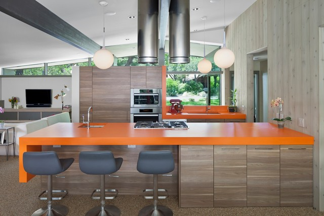 Tec Grout Kitchen Midcentury with Clean Lines Cooktop Gray