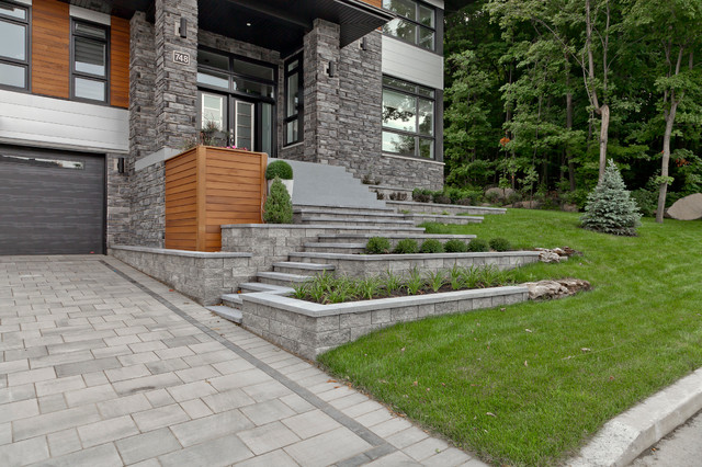Techo Bloc Landscape Contemporary with Black Garage Door Covered