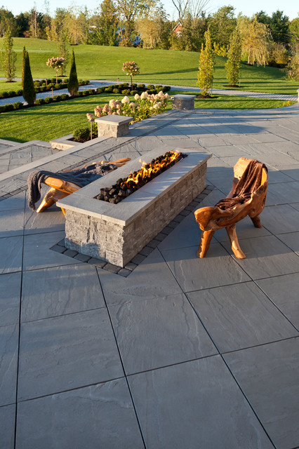 Techo Bloc Patio Traditional with Backyard Chateau Fire Pit