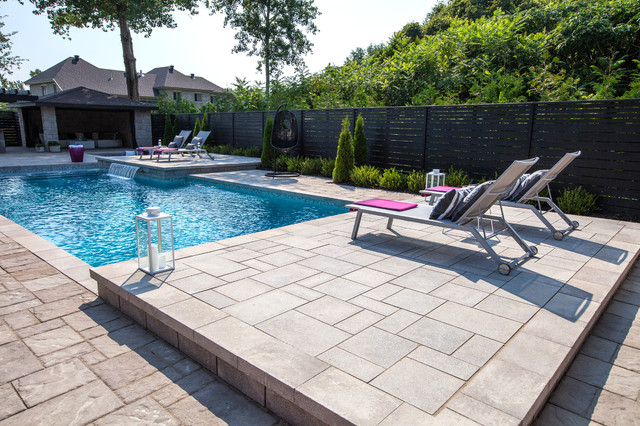 techo bloc Pool Contemporary with backyard beautiful space blu