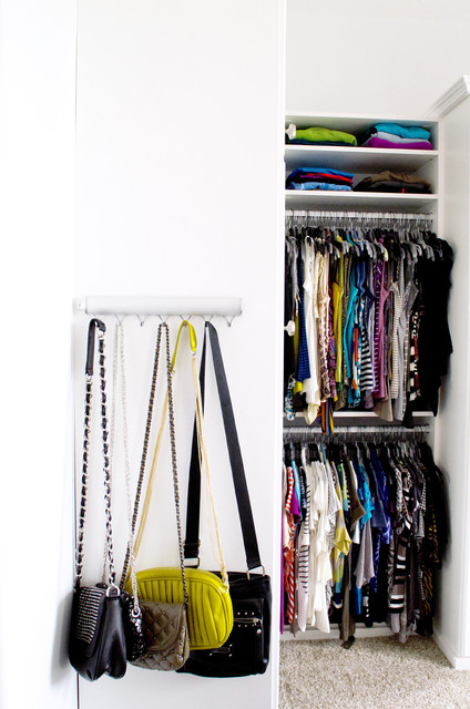 Tension Curtain Rod Closet Traditional with Bag Hanger Bag Rack