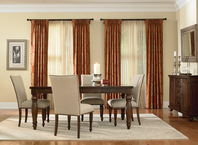 Tension Curtain Rod Dining Room Traditional with Curtains Custom Drapes Damask