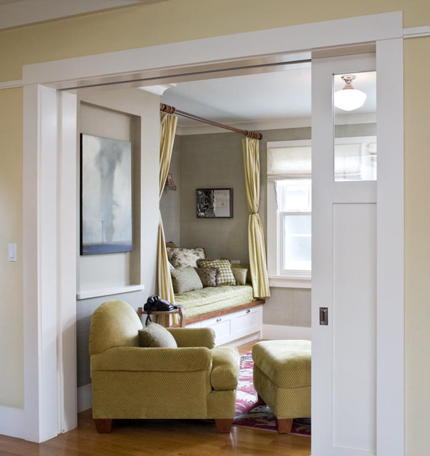 Tension Curtain Rod Living Room Traditional with Alcove Built in Seating