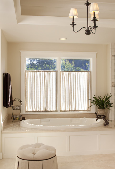 Tension Rod Curtains Bathroom Traditional with Bathroom Lighting Ceiling Lighting