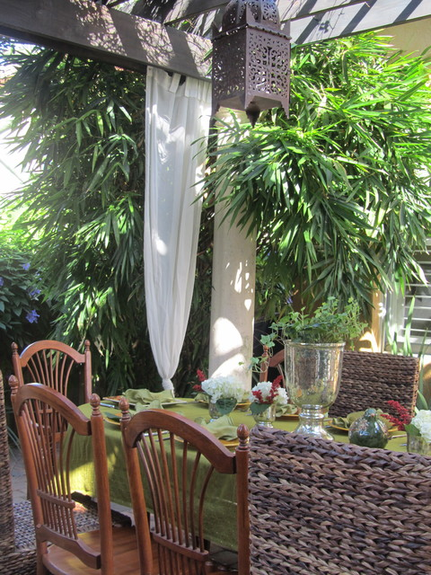 Tension Rod Curtains Patio Tropical with Buddha Belly Bamboo Container
