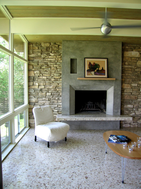 Terrazzo Floors Living Room Modern with Austin Fireplace Modern Stone1