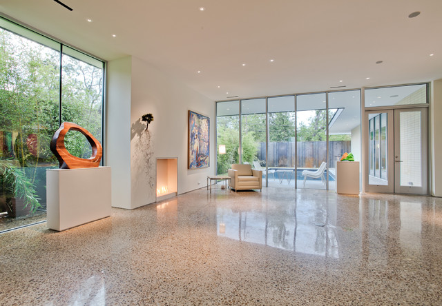 Terrazzo Tile Living Room Modern with Gallery Glass Doors Glass