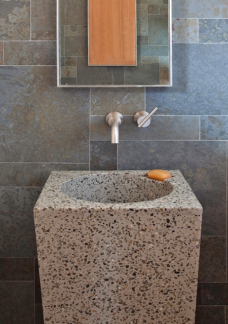 Terrazzo Tile Powder Room Modern with Bathroom Mirror Bathroom Tile