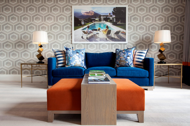 Terry Cloth Bathrobe Living Room Contemporary with Abstract Lamps Blue Blue
