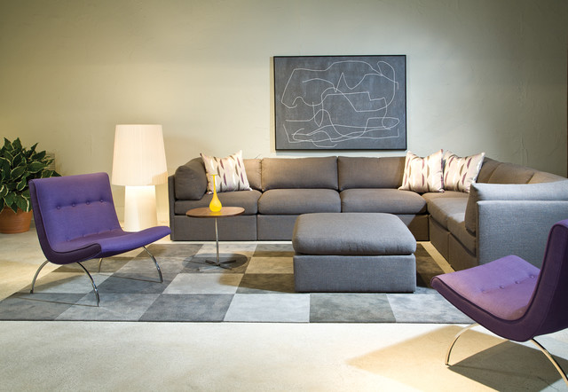 Thayer Coggin Family Room Midcentury with Allan Gould Classic Contemporary