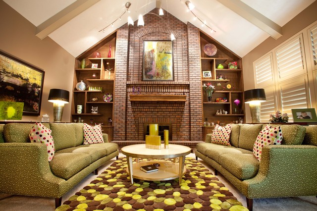 Thayer Coggin Living Room Eclectic with Beige Ceiling Beams Beige