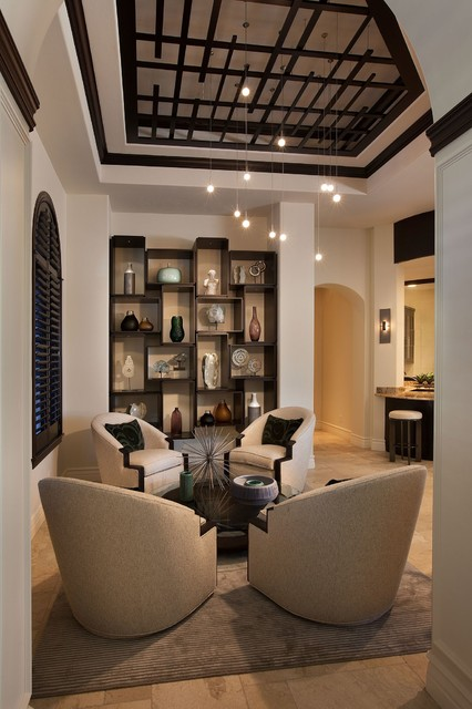 thayer coggin Living Room Transitional with alcove archway area rug
