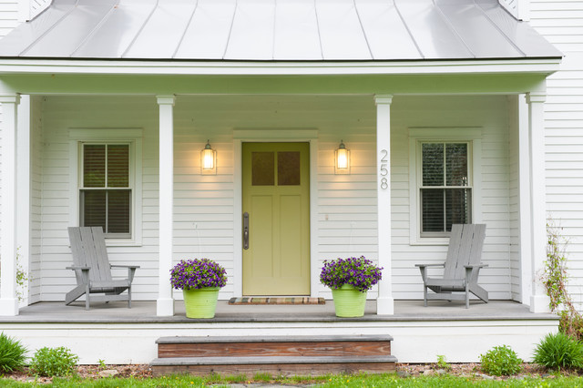 Therma Tru Doors Porch Farmhouse with Complementary Colors Covered Porch