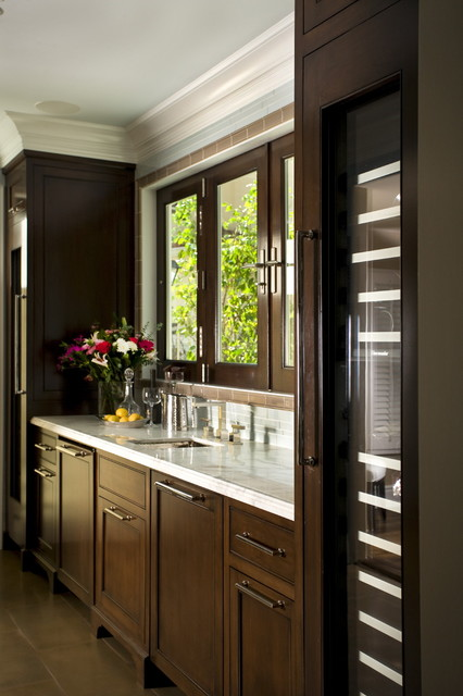Thermador Refrigerator Kitchen Traditional with Crown Molding Dark Floor