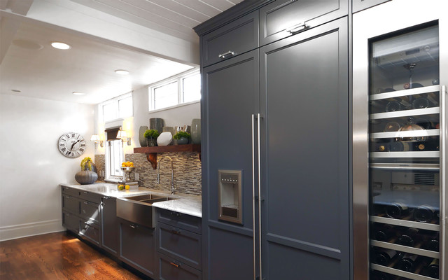 thermador refrigerator Kitchen Transitional with apron sink blue cabinets