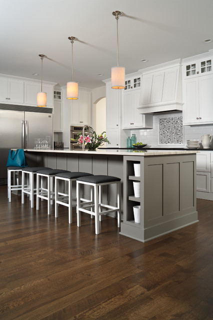 Thermador Refrigerator Spaces Modern with Flooring Hardwood Kitchen