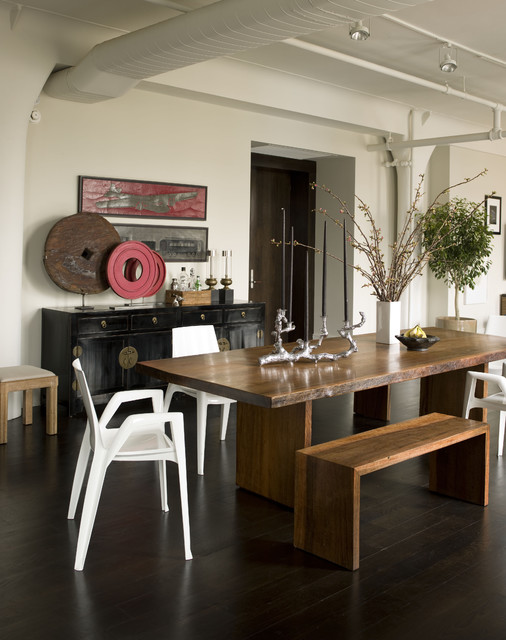 Thom Filicia Dining Room Contemporary with Candelabra Dark Floor Dining