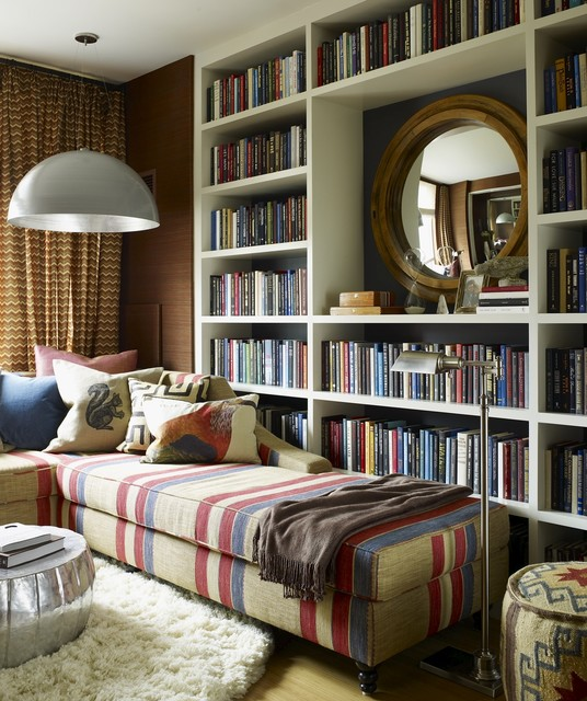 Thom Filicia Family Room Eclectic with Bookcase Bookshelves Ceiling Light