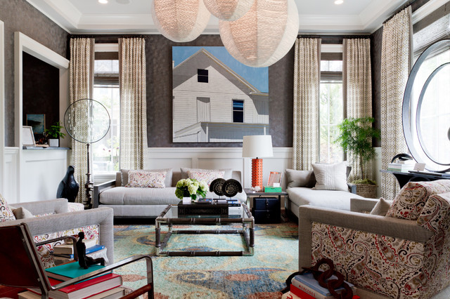 Thom Filicia Living Room Contemporary with Artwork Carpeting Coffee Table