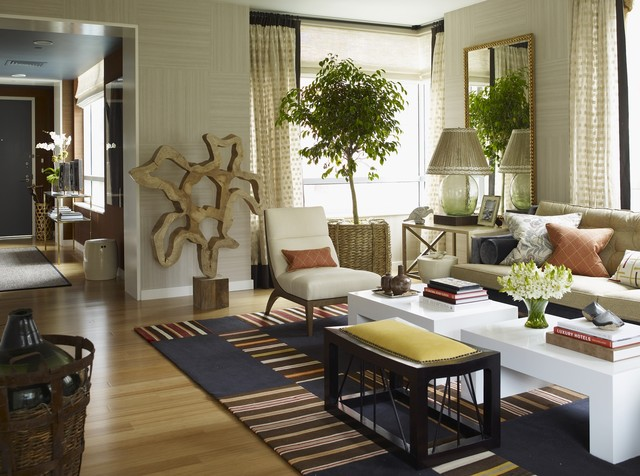 Thom Filicia Living Room Eclectic with Art Basket Chair Light