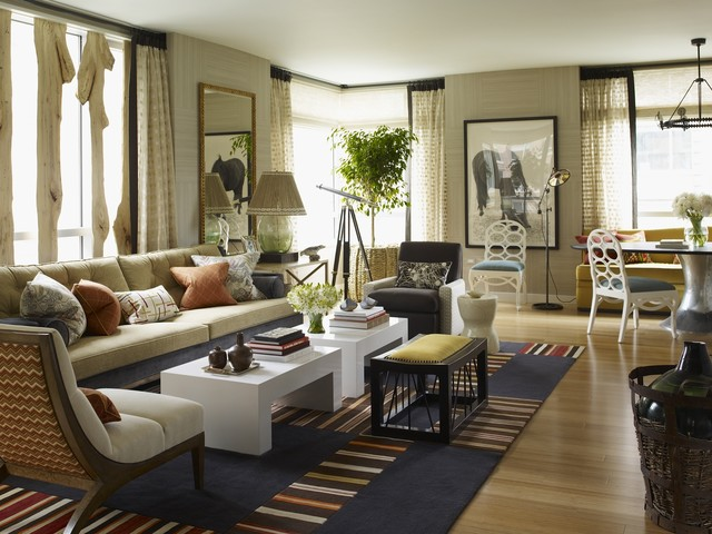 Thom Filicia Living Room Eclectic with Art Blue Rug Chair