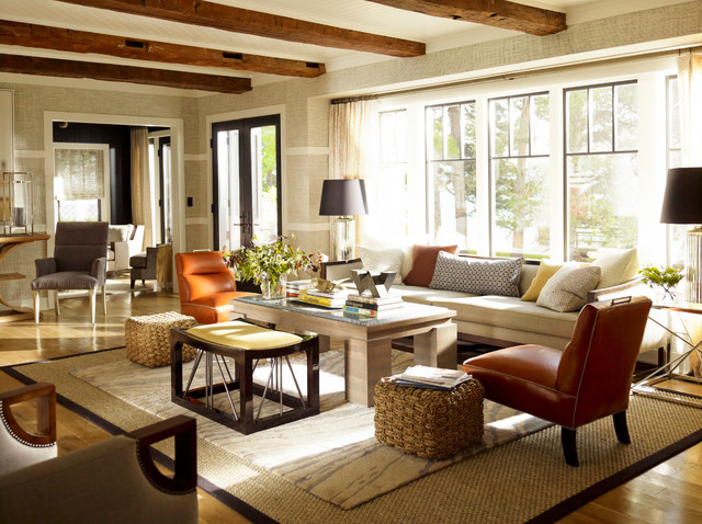 Thom Filicia Living Room Traditional with Armchair Beams Chunky Coffee