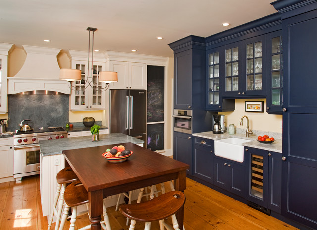Thomasville Cabinets Kitchen Farmhouse with Beadboard Beige Walls Blue