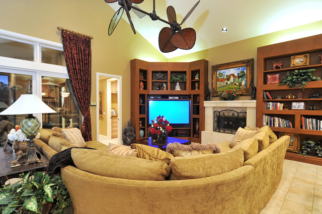 Thomasville Sofa Family Room Tropical with Bookcase Bookshelves Ceiling Fan