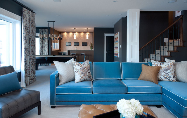 Thomasville Sofas Family Room Contemporary with Blue Sofa Carpet Chandelier