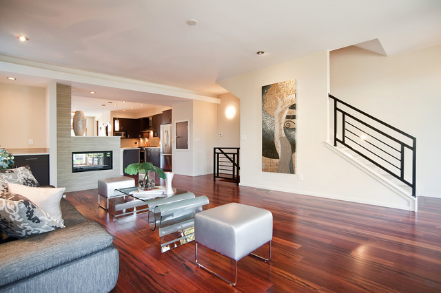 Tigerwood Flooring Family Room Contemporary with Abstract Art Chrome Clear
