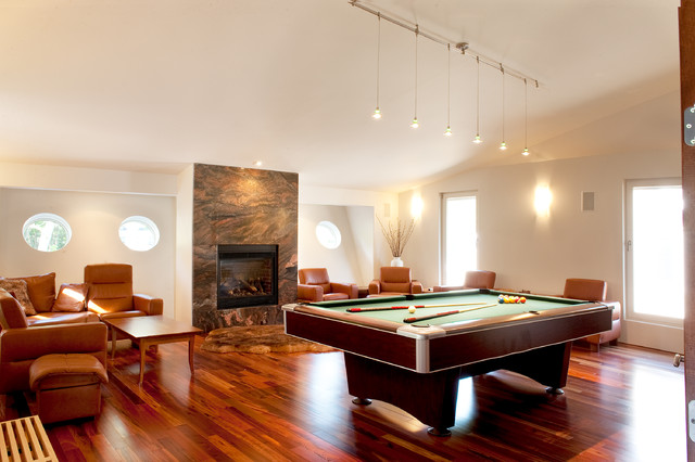 Tigerwood Flooring Family Room Contemporary with Pool Table