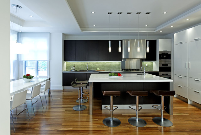 Tigerwood Flooring Kitchen Contemporary with Counter Stools Flush Cabinets