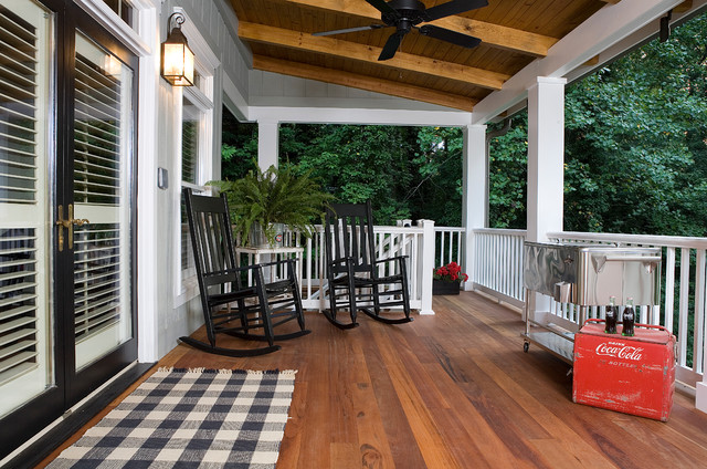 Tigerwood Flooring Porch Traditional with Black and White Black