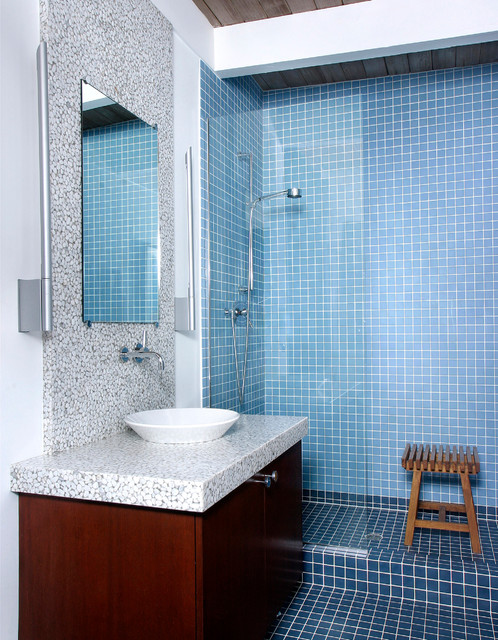 Tile Shower Pan Bathroom Contemporary with Bathroom Bathroom Mirror Blue