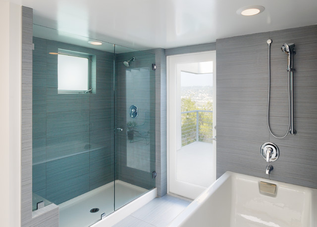 tile shower pan Bathroom Contemporary with blue glass deck EXTERIOR