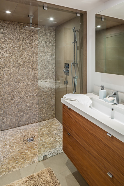 Tile Shower Pan Bathroom Contemporary with Ceiling Mount Showerhead Finger