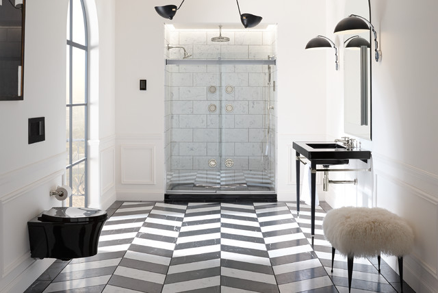 Tile Shower Pan Bathroom Traditional with Black Black and White
