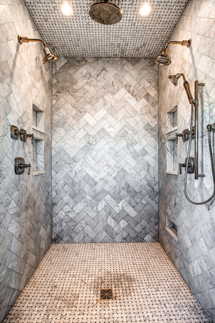 Tile Shower Pan Spaces with Basketweave Tile Ceiling Mounted