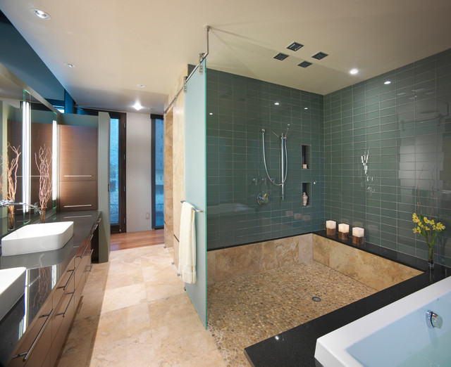 Tiled Showers Bathroom Contemporary with Bathroom Beige Stone Floor