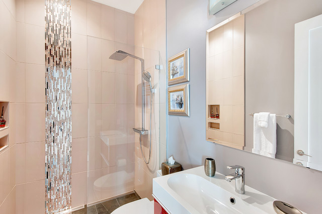 Tiled Showers Bathroom Contemporary with Bathroom Vanity Beach House