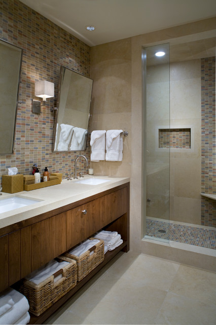 Tiled Showers Bathroom Contemporary with Beige Countertop Beige Mosaic