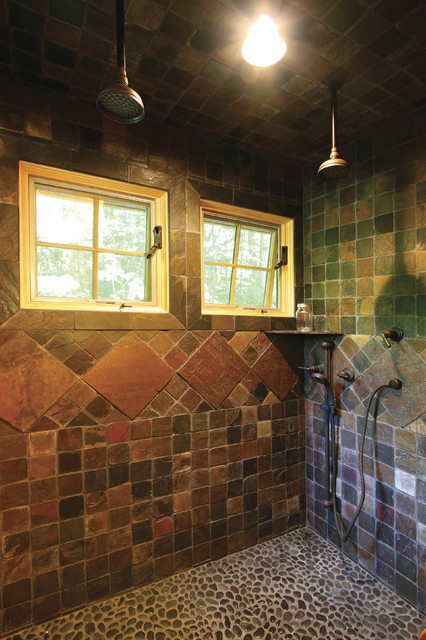 Tiled Showers Bathroom Rustic with Antique Bath Fixtures Awning