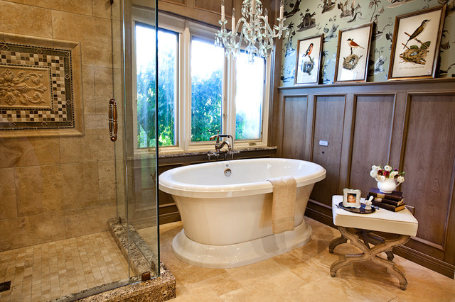 Tiled Showers Bathroom Traditional with Bathtub Chandelier Beige Tile