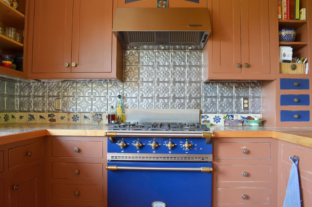 tin backsplash Kitchen Rustic with back blue blue range
