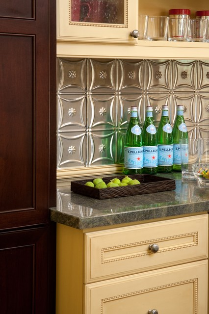 Tin Backsplash Kitchen Traditional with Beverage Station Contrasting Cabinetry