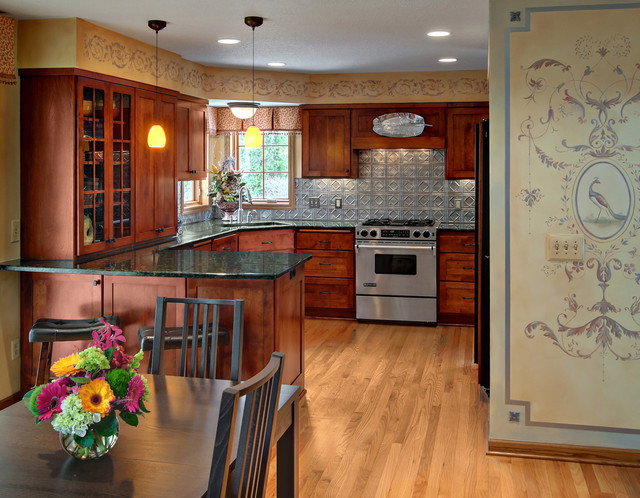 Tin Backsplash Kitchen Traditional with Glass Cabinet Eat in Kitchen