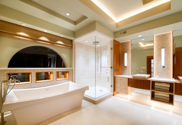 Toe Kick Heater Bathroom Contemporary with Arch Window Floating Vanity