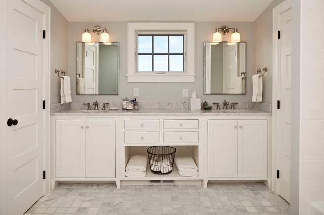 Toe Kick Heater Bathroom Farmhouse with Basket Double Sinks Storage