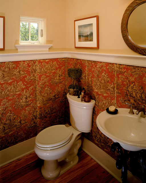 Toile Wallpaper Bathroom Traditional with Art Guest Bath Half