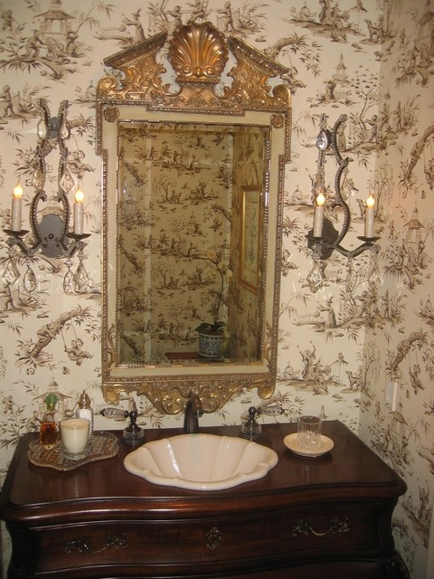 Toile Wallpaper Bathroom Traditional with Decorative Sink Guest Bath1